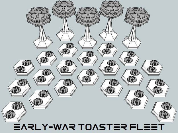 MicroFleet BSG Early-War Toaster Fleet (25pcs) in White Acrylic