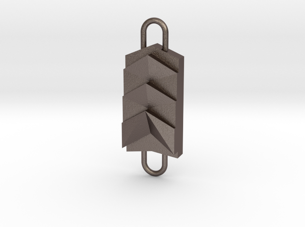 Double KeyChain in Polished Bronzed Silver Steel