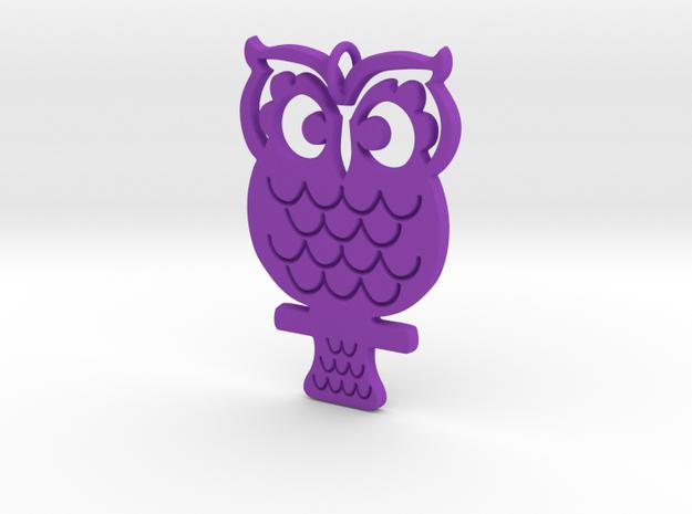 Retro Owl Pendant in Purple Processed Versatile Plastic