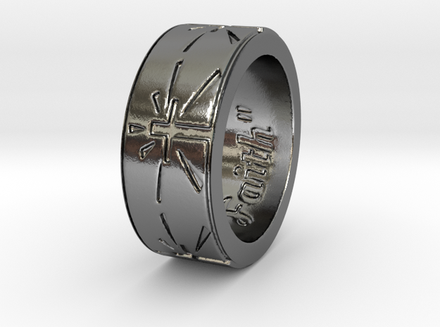 """""""Faith"""" Ring  in Polished Silver: 6 / 51.5"""