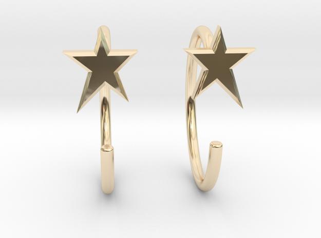 StarMiniHoops in 14K Yellow Gold