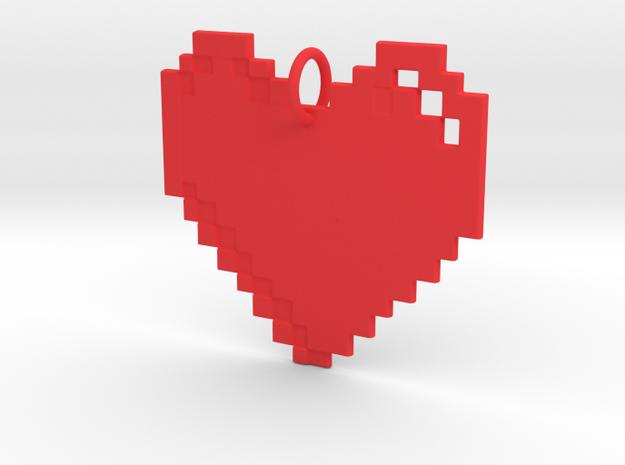 8-bit Heart in Red Processed Versatile Plastic