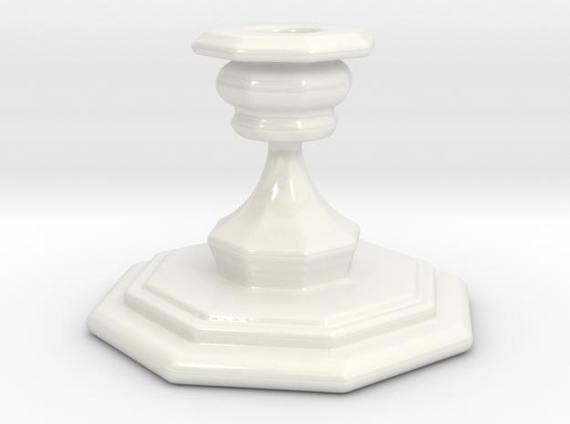 Porta Candela ottagono in Gloss White Porcelain