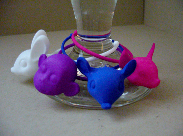 Mouse Wine Glass Charm 3d printed wine glass charms bunny, monkey, mouse, pig