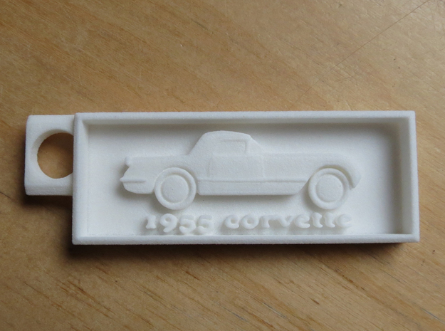 1955 Corvette Key Chain in White Natural Versatile Plastic
