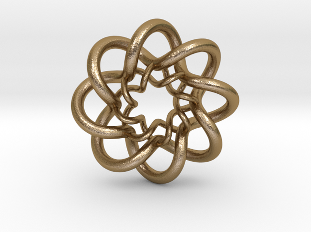 Double Celtic Knot Pendant in Polished Gold Steel
