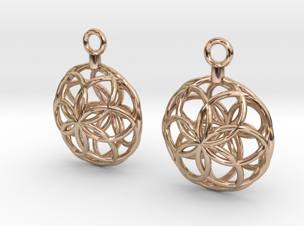 Rosette Earrings in 14k Rose Gold Plated Brass