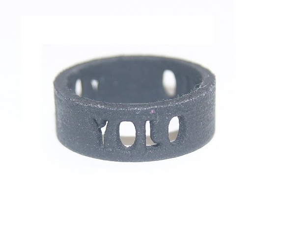 YOLO TYPE 2, Size 6 Ring Size 6 3d printed Yolo Type 2; Black