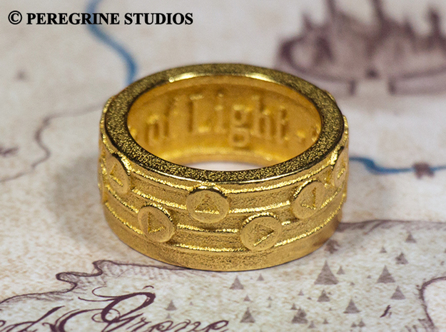 Ring - Prelude of Light 3d printed Gold Plated Glossy