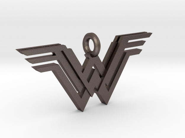 Wonder Woman Keychain in Polished Bronzed Silver Steel