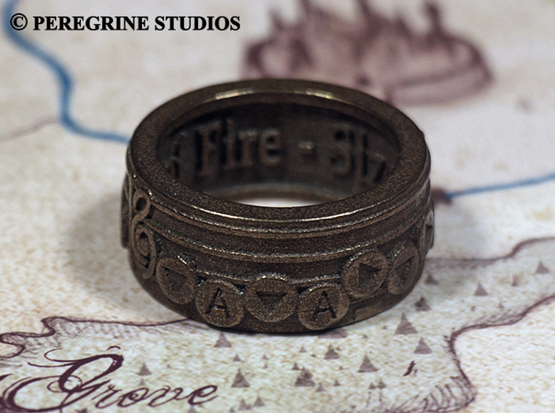 Ring - Bolero of Fire 3d printed Antique Bronze Glossy