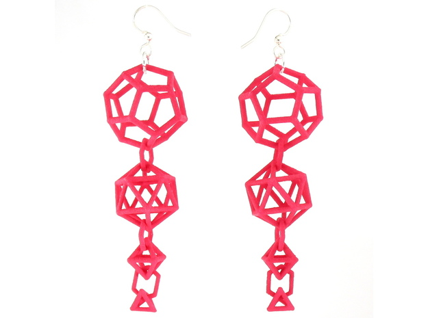 Platonic Progression Earrings - Clean 3d printed Earrings printed in Pink Strong and Flexible, with earwires added