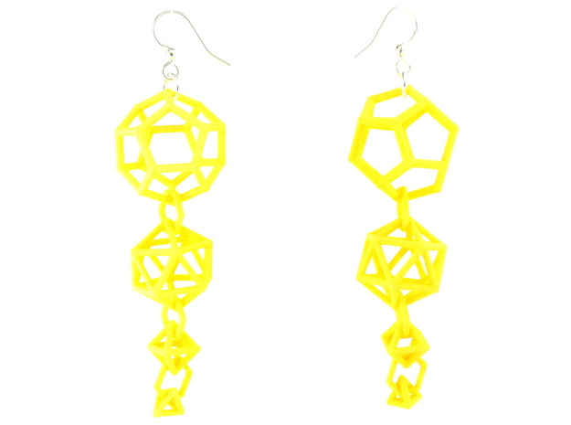 Platonic Progression Earrings - Clean 3d printed Earrings printed in Yellow Strong and Flexible, with earwires added