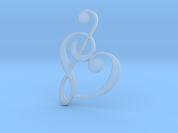Heart Clef Pendant - Ultra detail in Smooth Fine Detail Plastic