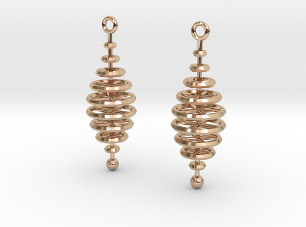 Ring-Stack Earrings in 14k Rose Gold Plated Brass