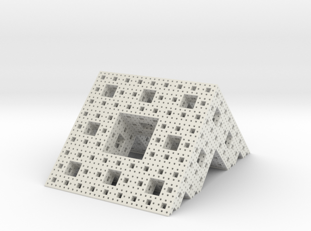 Menger roof (4 iterations) in White Natural Versatile Plastic