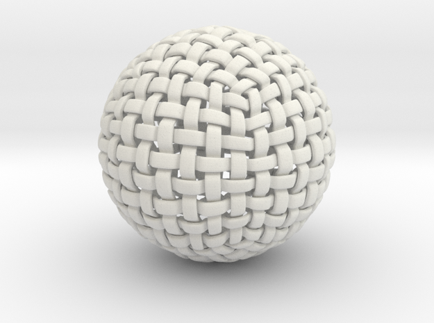 Knitted Sphere in White Natural Versatile Plastic
