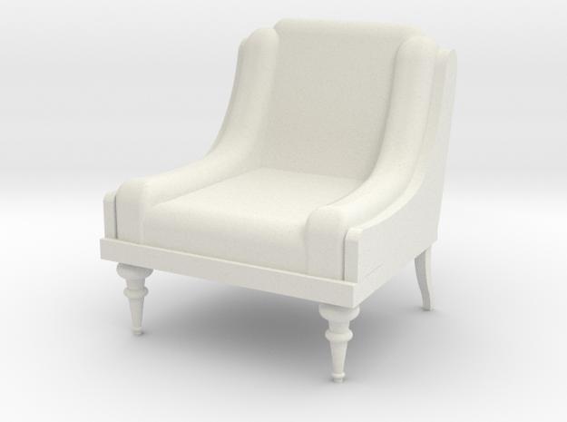 Low Armchair 1:25  in White Natural Versatile Plastic
