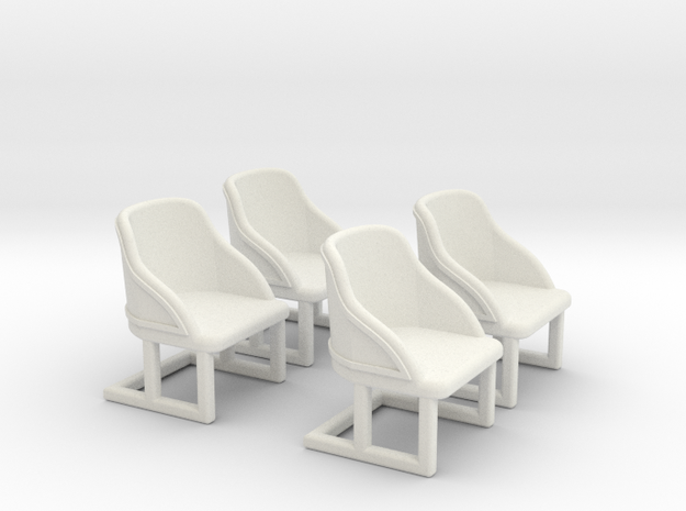 Chair: Cafe or Bistro chair. Four piece set. in White Strong & Flexible