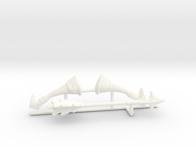 Bow and arrow Toon version in White Strong & Flexible Polished