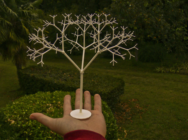3D Golden Lévy Fractal Tree in White Natural Versatile Plastic