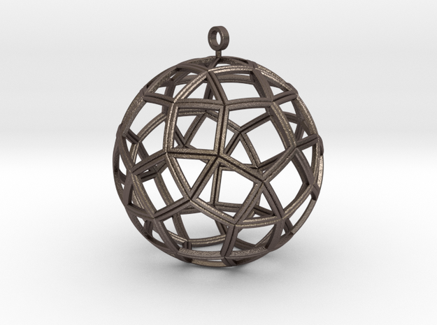 small ball rhombicosidodecahedron in Polished Bronzed Silver Steel