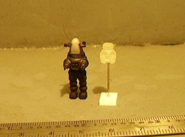 V.I.N.Cent-E 1-87 Scale 3d printed V.I.N.Cent on peg next to Rob-Bot.