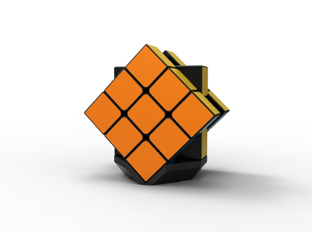 Rubiks Cube Stand v2 in Black Strong & Flexible