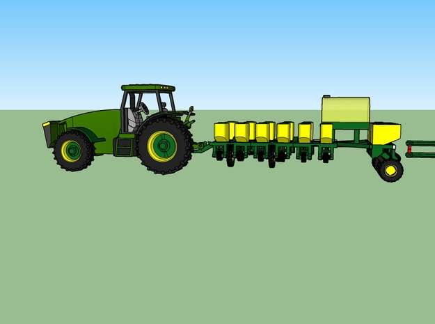 N JD 16 Row Planter TRANSPORT  in Smooth Fine Detail Plastic