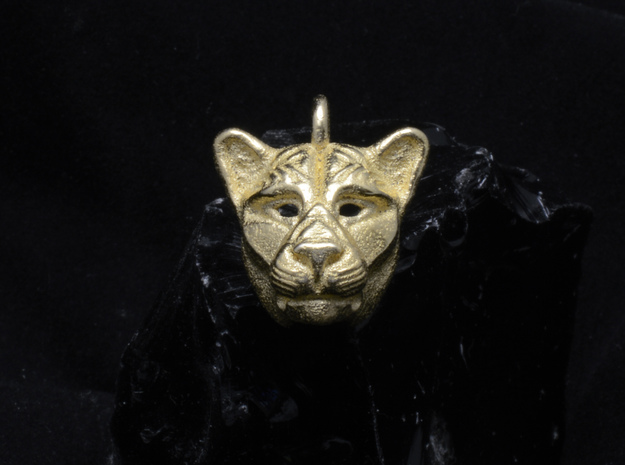 Lioness Pendant in Polished Gold Steel