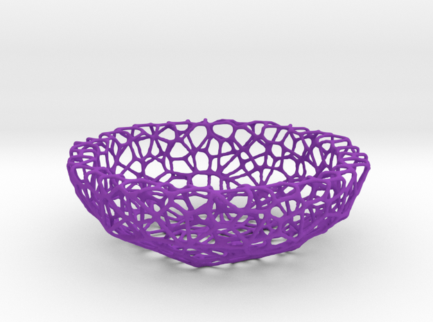 Key shell / bowl (11,5 cm) - Voronoi-Style #1  in Purple Processed Versatile Plastic
