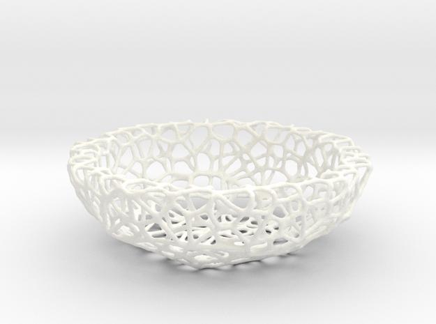 Little Bowl (15 cm) - Voronoi-Style #4 in White Processed Versatile Plastic