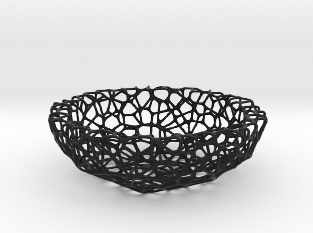 Mini Key shell / bowl (8 cm) - Voronoi-Style #1 in Black Natural Versatile Plastic