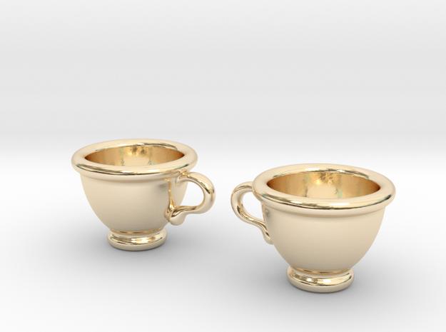 Coffee Cups Earrings in 14K Yellow Gold