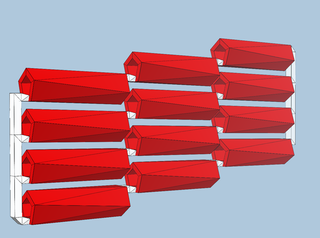 12 red-axis bobs in Red Processed Versatile Plastic