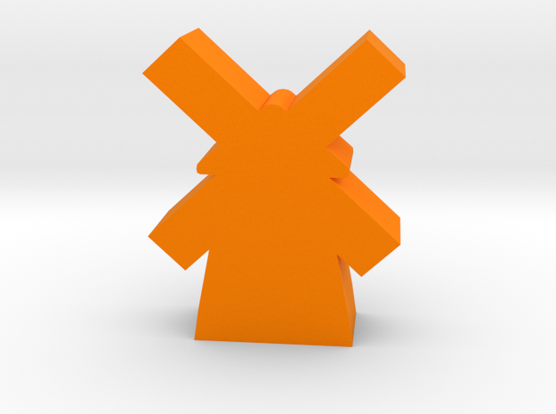 Game Piece, Windmill in Orange Processed Versatile Plastic