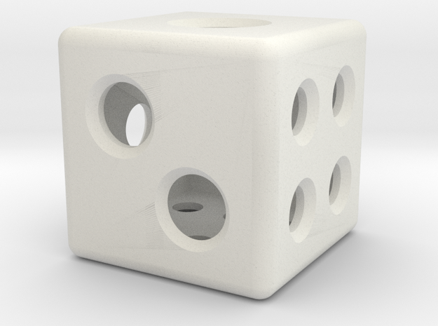 Loaded Hollow Dice (D6) (1.5cm) in White Natural Versatile Plastic