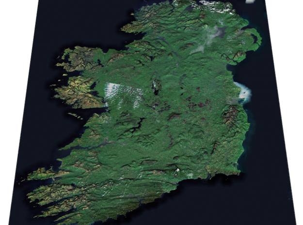 Ireland from Space Map in Coated Full Color Sandstone