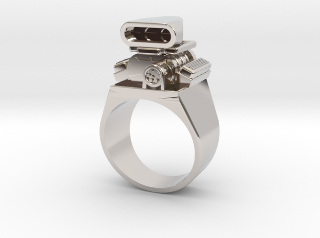 Size 10 Big Block Entertainment Supercharger Ring in Rhodium Plated Brass