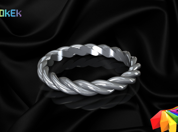 Twisted sz18 in Polished Bronzed Silver Steel