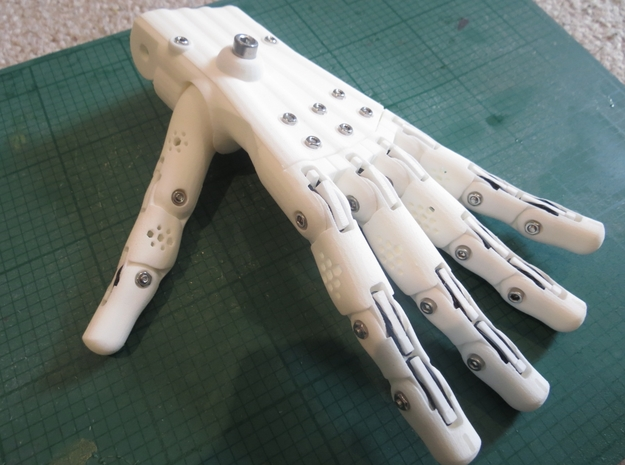 3D Printed Hand Left in White Strong & Flexible