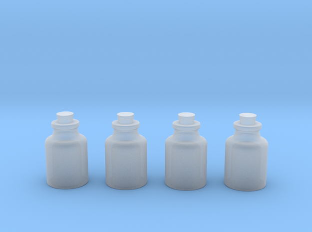 Four Bottles in Smooth Fine Detail Plastic