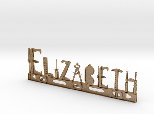 Elizabeth Nametag in Matte Gold Steel