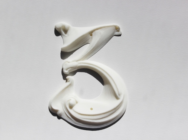 Art Nouveau House Number: 3 in White Natural Versatile Plastic