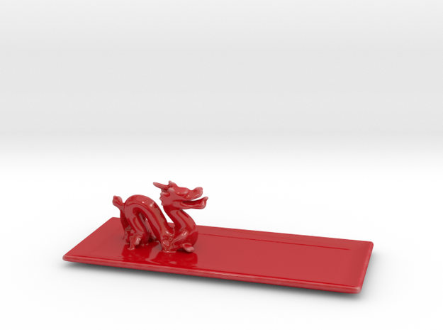 Dragon Plate  in Gloss Red Porcelain