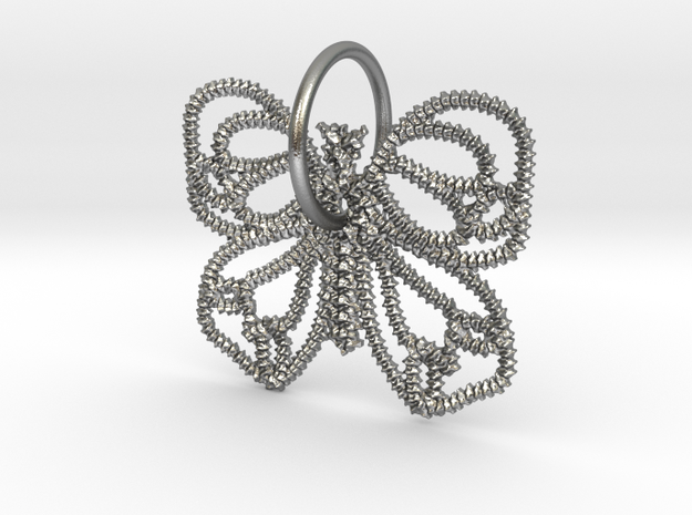 Vertebrae butterfly pinned in Natural Silver