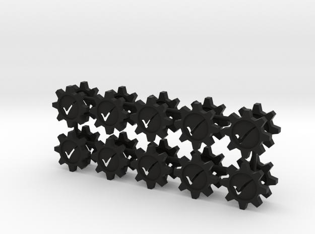 Checkmark Cog Boardgame Token (x20) in Black Natural Versatile Plastic