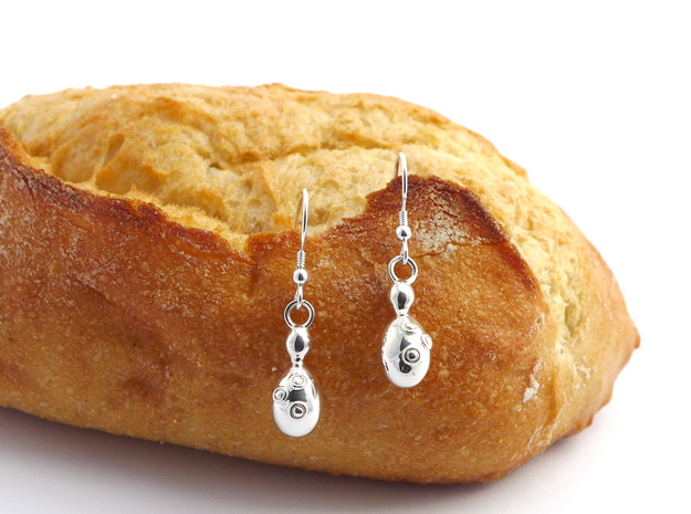 Saccharomyces Yeast Earrings - Science Jewelry in Polished Silver