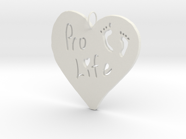 Pro Life Heart Pendant in White Strong & Flexible