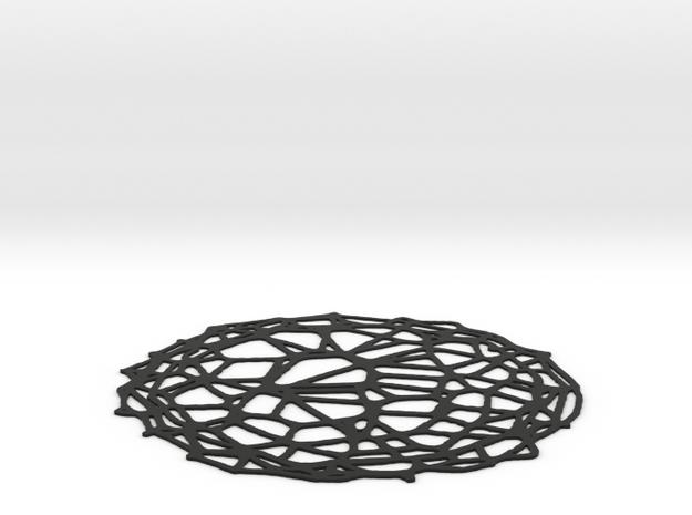 Coaster - Voronoi #4 (15 cm) in Black Natural Versatile Plastic